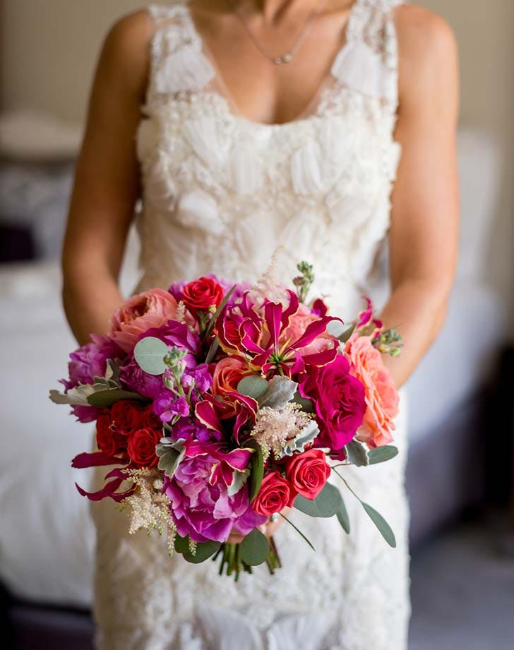 pink red wedding bouquet