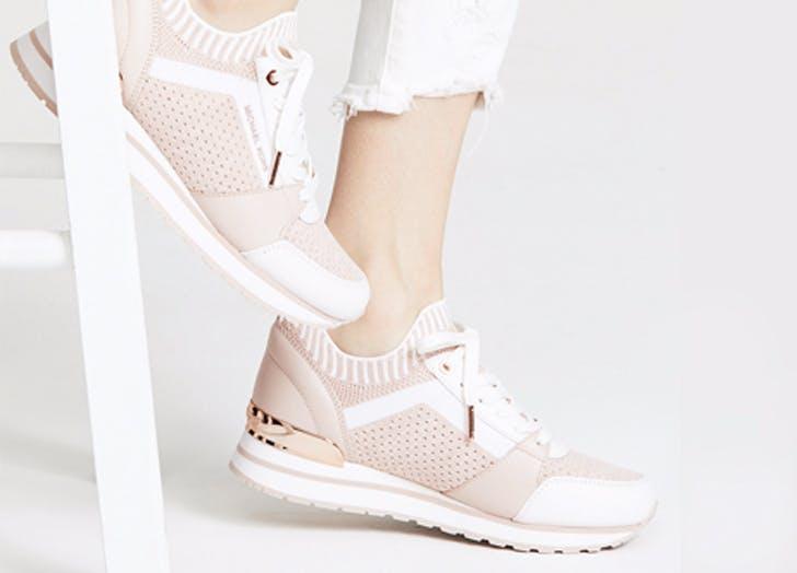 pink sneakers legs list