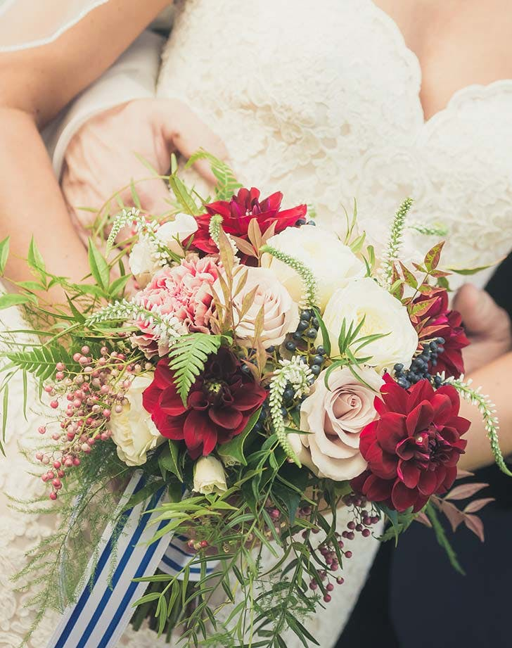 red white blue wedding bouquet