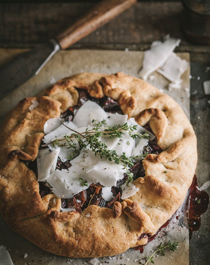 roasted beet onion galette with goat cheese and pecorino recipe