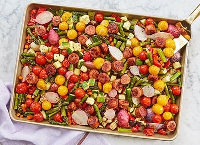 sheet pan lemon garlic veggies and sausage recipe 290