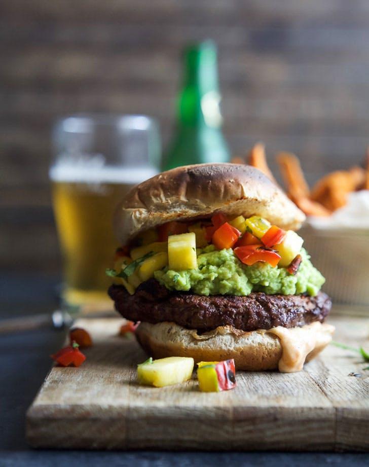 smoky avocado burgers pineapple relish recipe