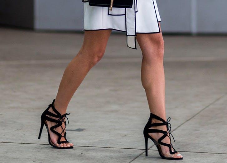 strappy dominatrix heels in black
