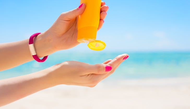 sunscreen in palms