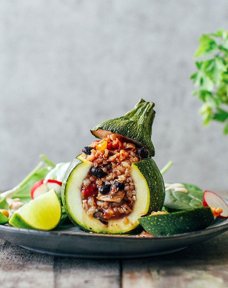 three grain enchilada stuffed zucchini vegan gluten free recipe