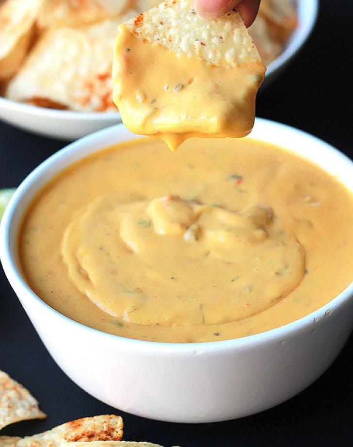 vegan queso spiced tortilla chips recipe