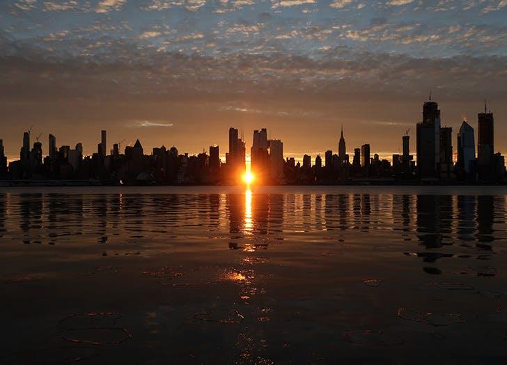 weehawken sunset city skyline