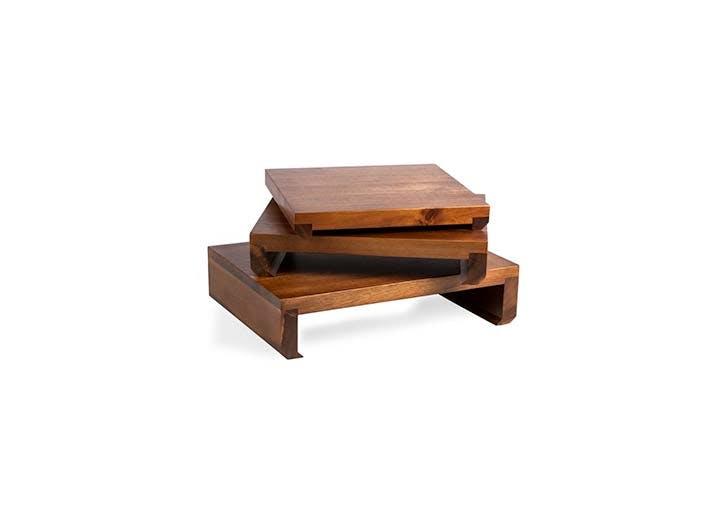 wood serving pedestals