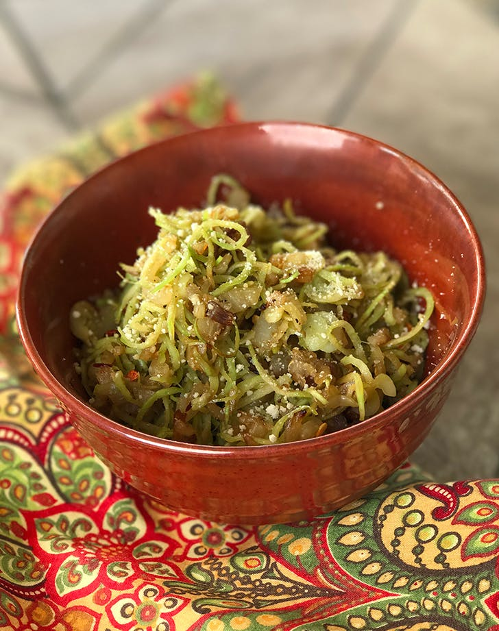 Broccoli Noodles with Sauteed Scallions and Garlic pegan paleo vegan recipe