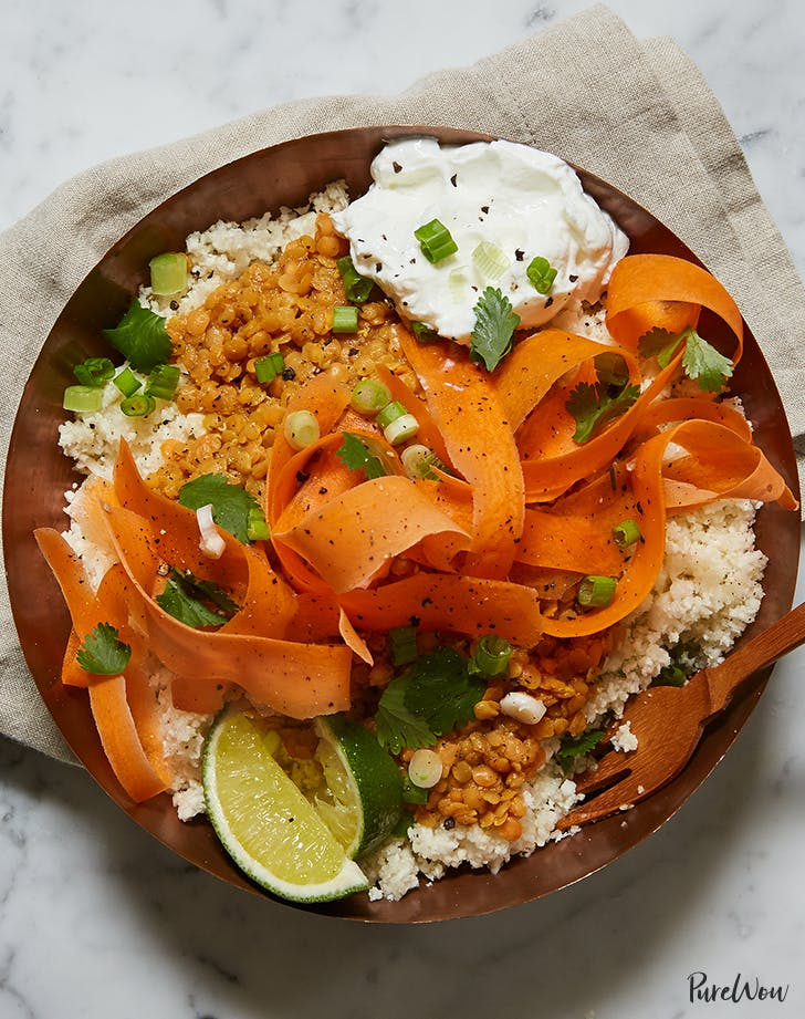 Cauliflower Rice Bowl with Curried Lentils  Carrots and Yogurt recipe