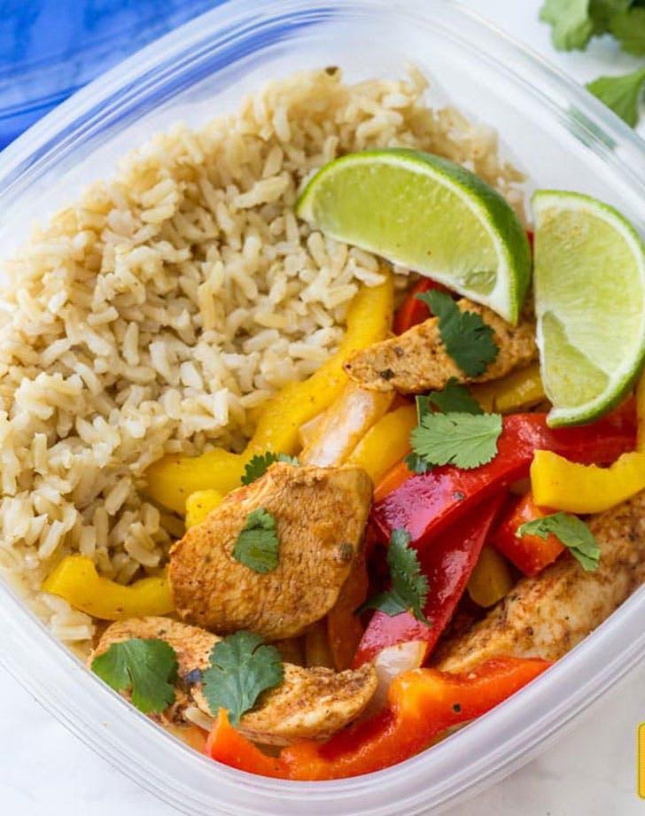 Chicken fajita meal prep bowls recipe