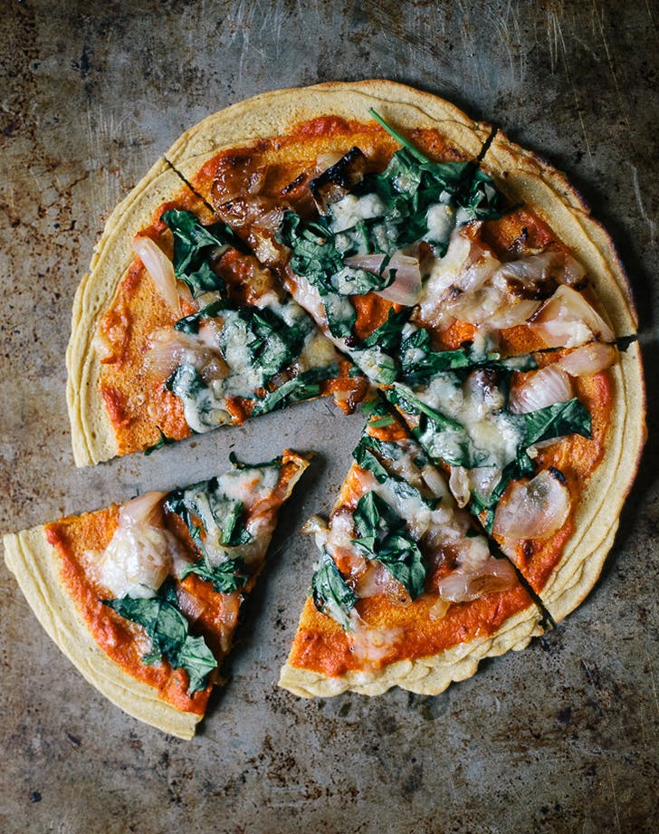 Chickpea Pizza with Harissa and Spinach recipe