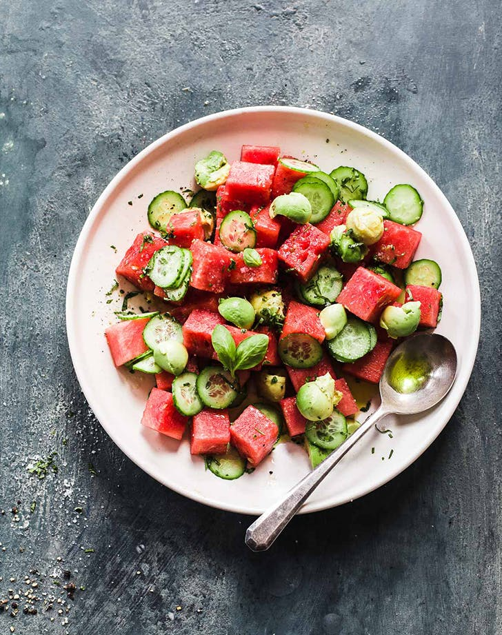 Cucumber Watermelon Avocado Salad pegan paleo vegan recipe