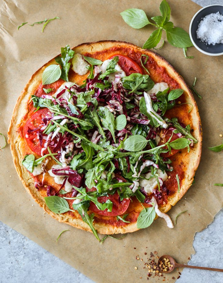 Gluten Free Summer Salad Pizza with Chickpea Crust recipe