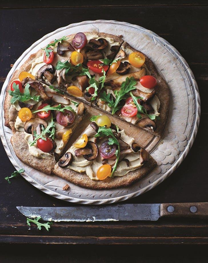 Hummus Pizza with Arugula and Wild Mushrooms recipe