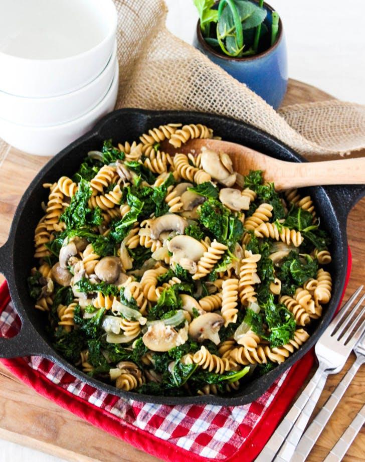 Kale and Mushroom Skillet Pasta vegan skillet recipe