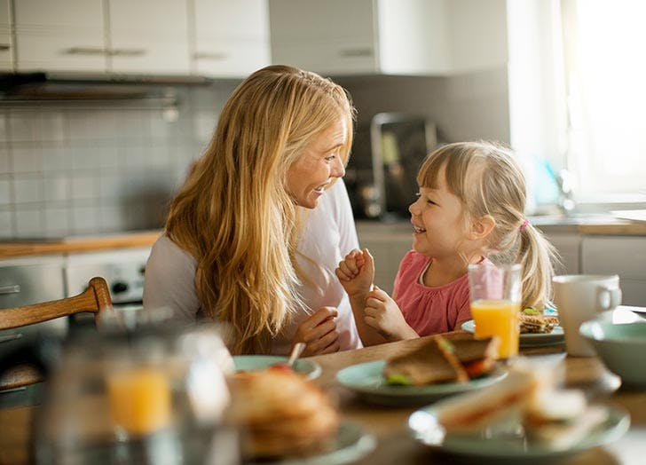 Mom and daughter having breakfast together