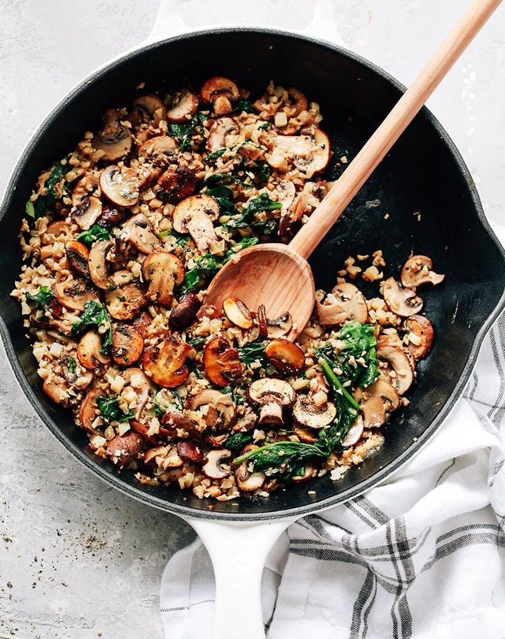 Mushroom Cauliflower Rice Skillet vegan skillet recipe