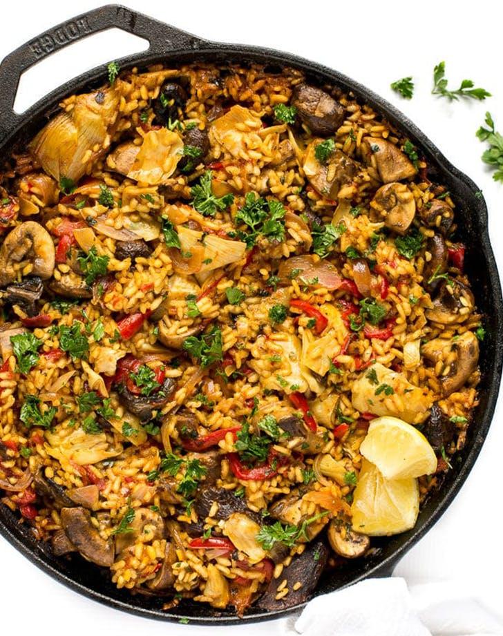 Mushroom Paella vegan skillet recipe