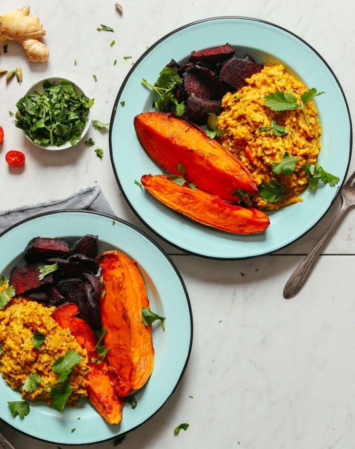 One Pot Cauliflower Rice Kitachari vegan skillet recipe