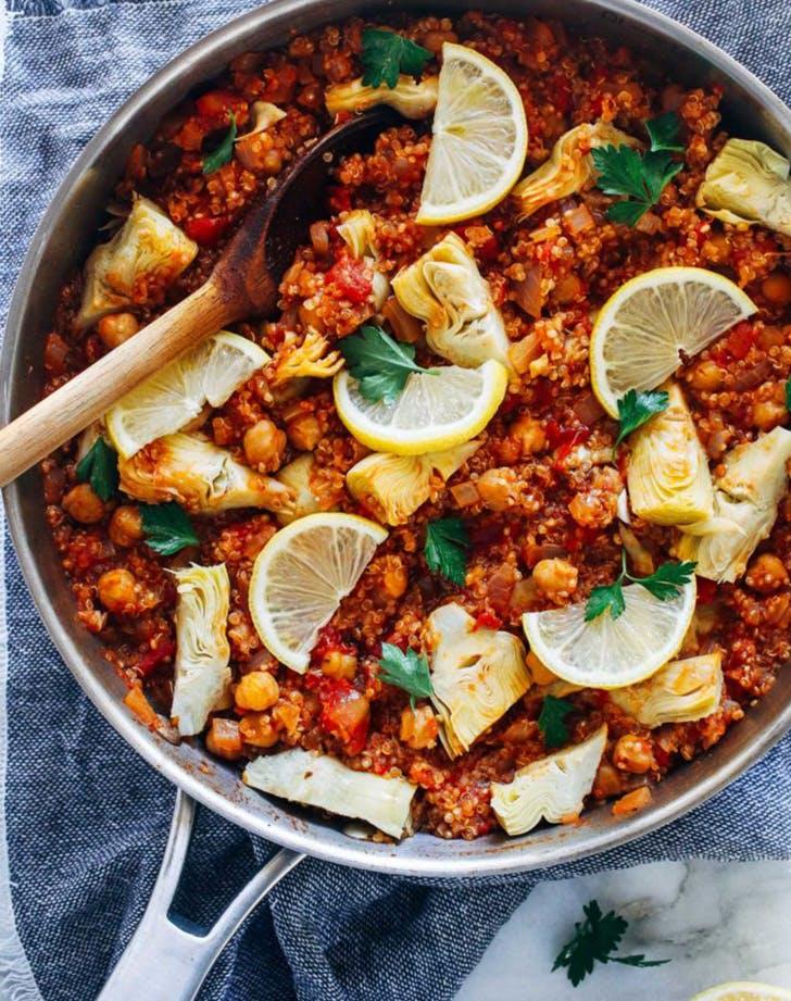 One Pot Spanish Quinoa vegan skillet recipe