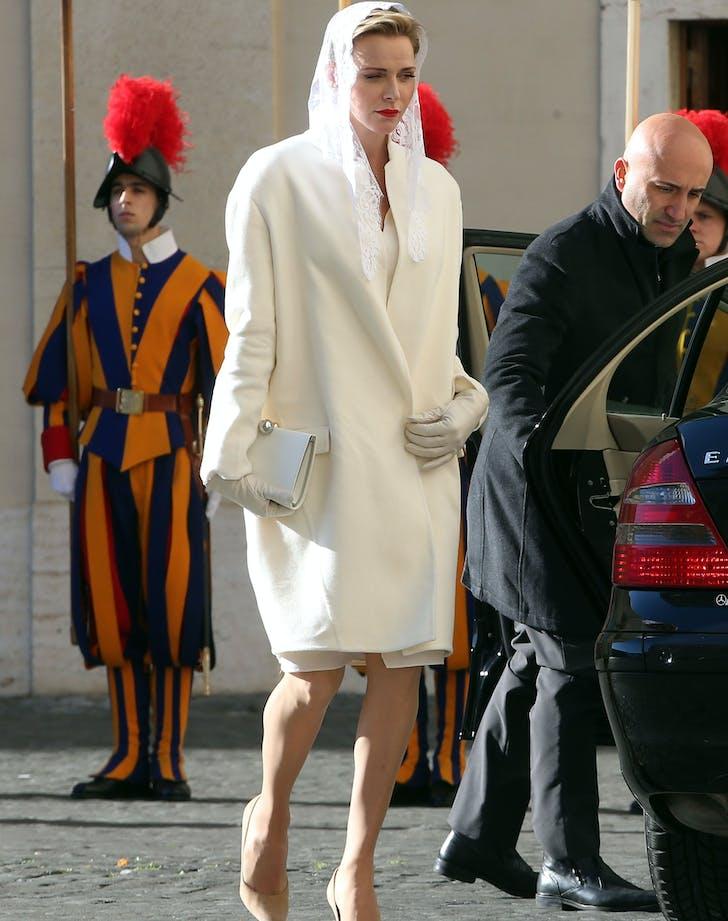 Princess Charlene in All white