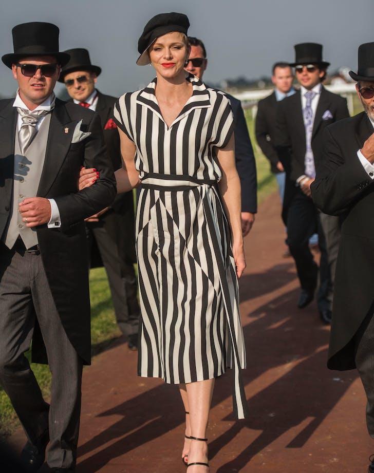 Princess Charlene in black and white stripes