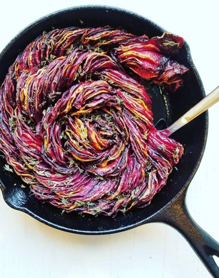 Roasted Balsamic Beets and Rutabaga vegan skillet recipe