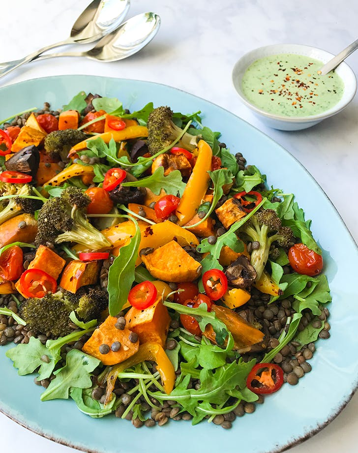 Roasted Vegetable and Lentil Salad pegan paleo vegan recipe