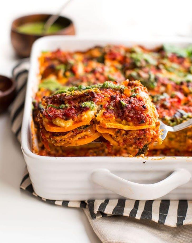 Sweet Potato Lasagna with Almond Ricotta   Basil Pesto recipe