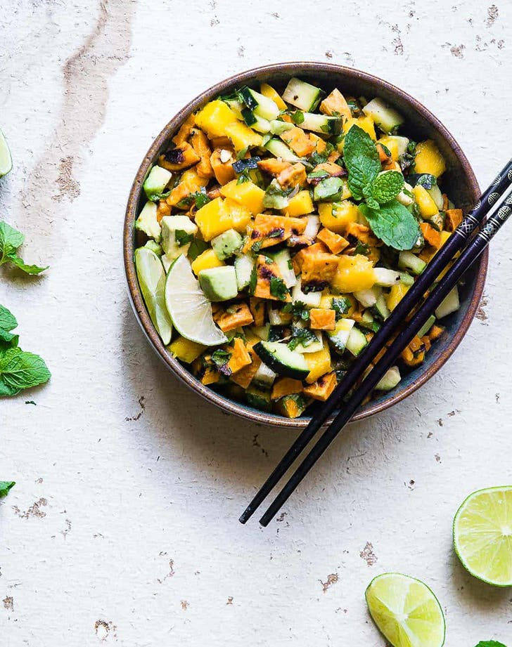 Thai Mango Avocado Salad with Grilled Sweet Potatoes pegan paleo vegan recipe