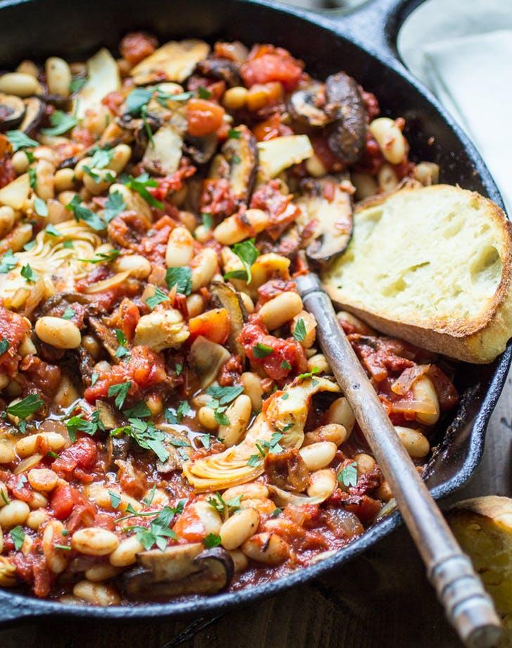 Tuscan White Bean Skillet vegan skillet recipe