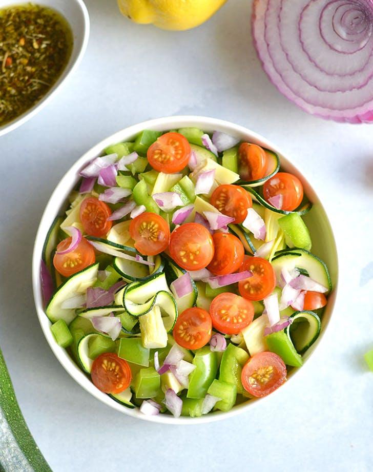 Zucchini Pasta Salad pegan paleo vegan recipe
