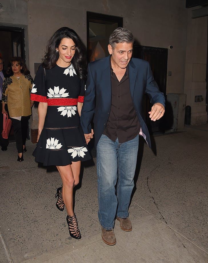 amal clooney wearing a floral dress