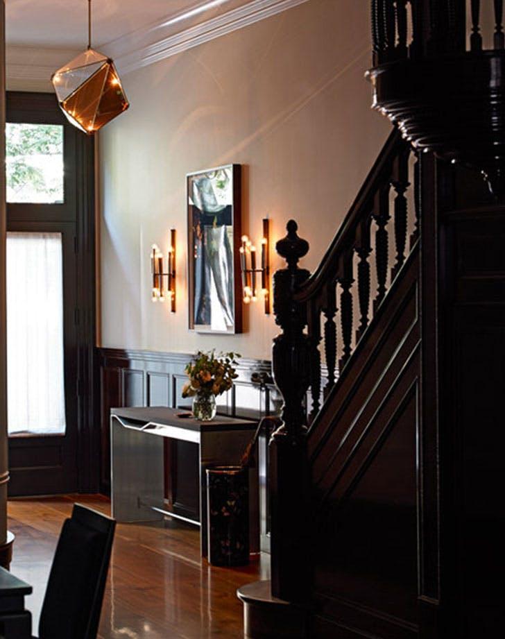 bella mancini staircase wood hallway