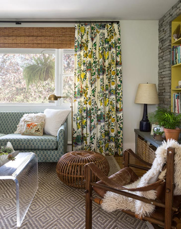 bella mancini yellow green living room