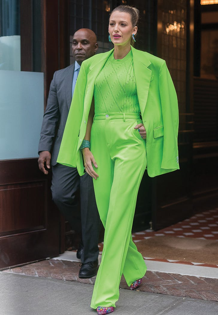 blake lively lime green suit