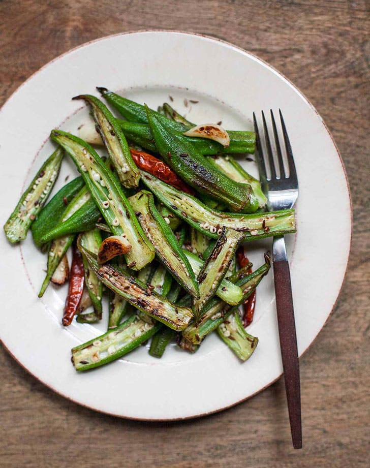 blistered okra garlic cumin recipe