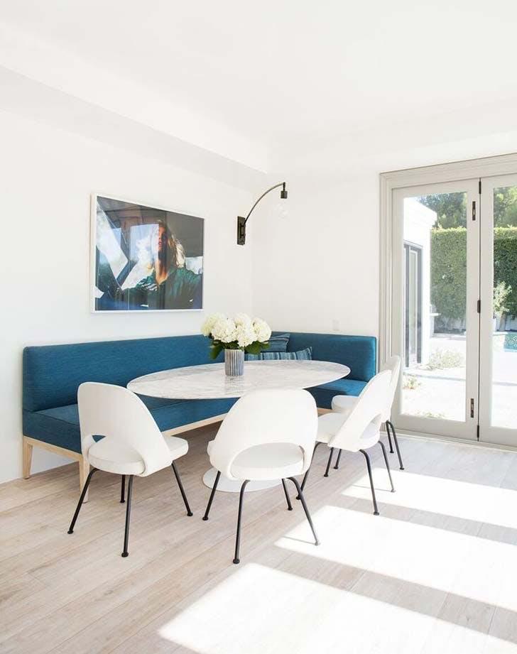 blue bench banquette