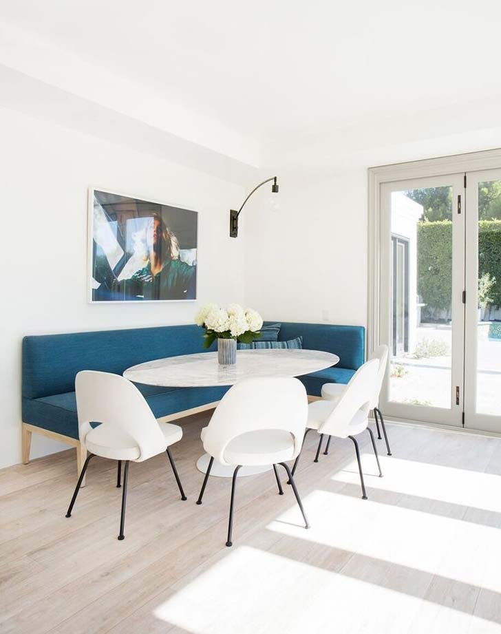 blue bench banquette