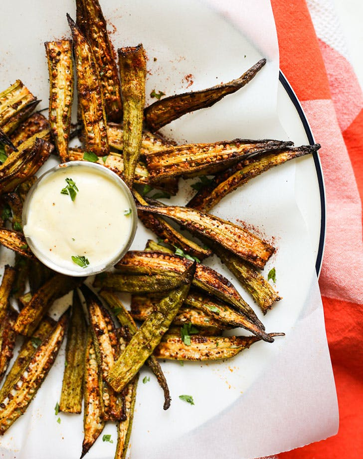 cajun oven roasted okra fries lemon garlic aioli recipe
