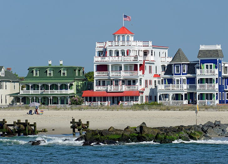 cape may beach colorful houses jettys
