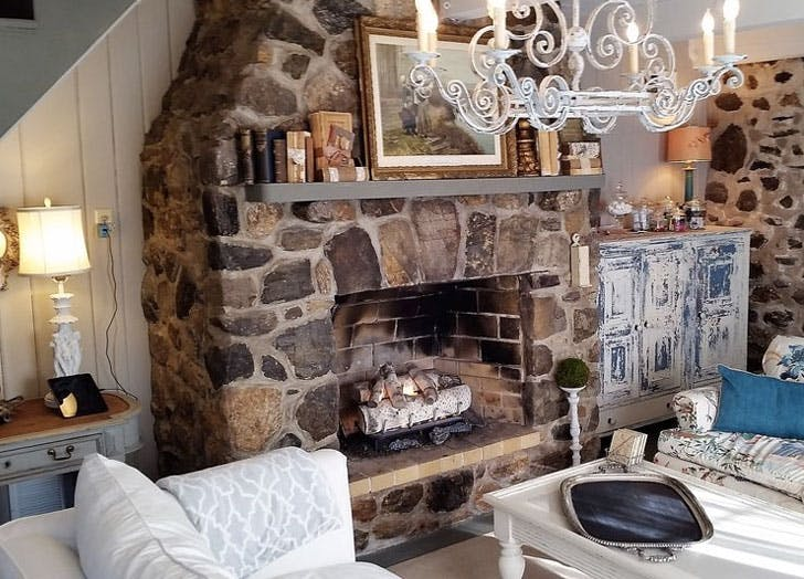 connecticut home fireplace chandelier