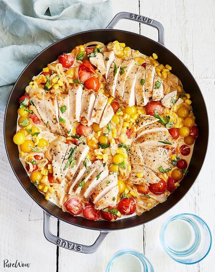 creamy chicken corn tomato skillet recipe1