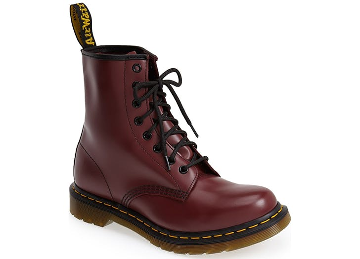 dr martens burgundy lace up combat boots