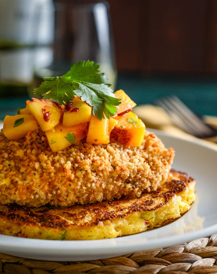 fried chicken okra tomato corn cakes recipe