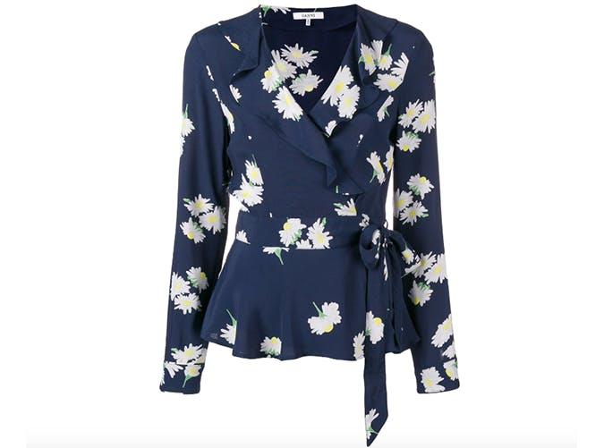 ganni floral wrap blouse