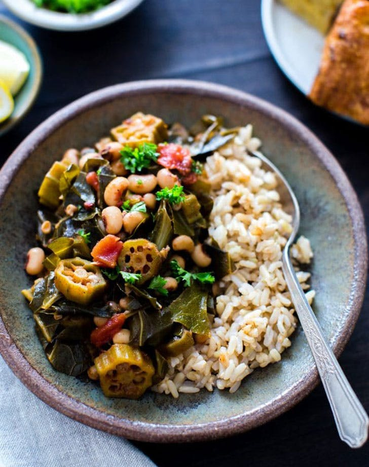 harissa stewed black eyed peas okra collard greens recipe