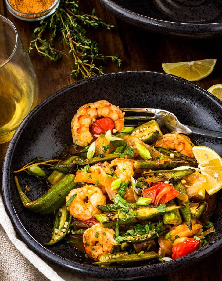 healthy cajun style charred okra shrimp recipe