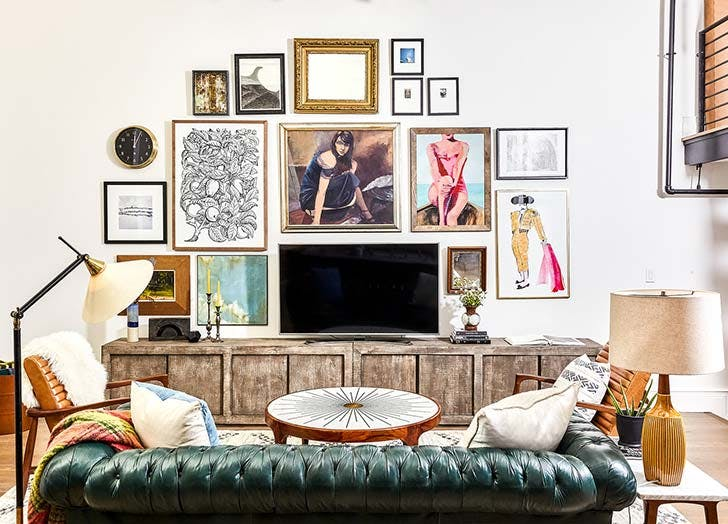 hide tv with gallery wall 728